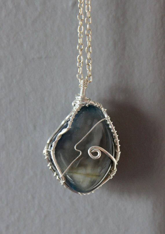 Blue Agate Wrapped in Silver Plated Wire: by ParagonStones on Etsy