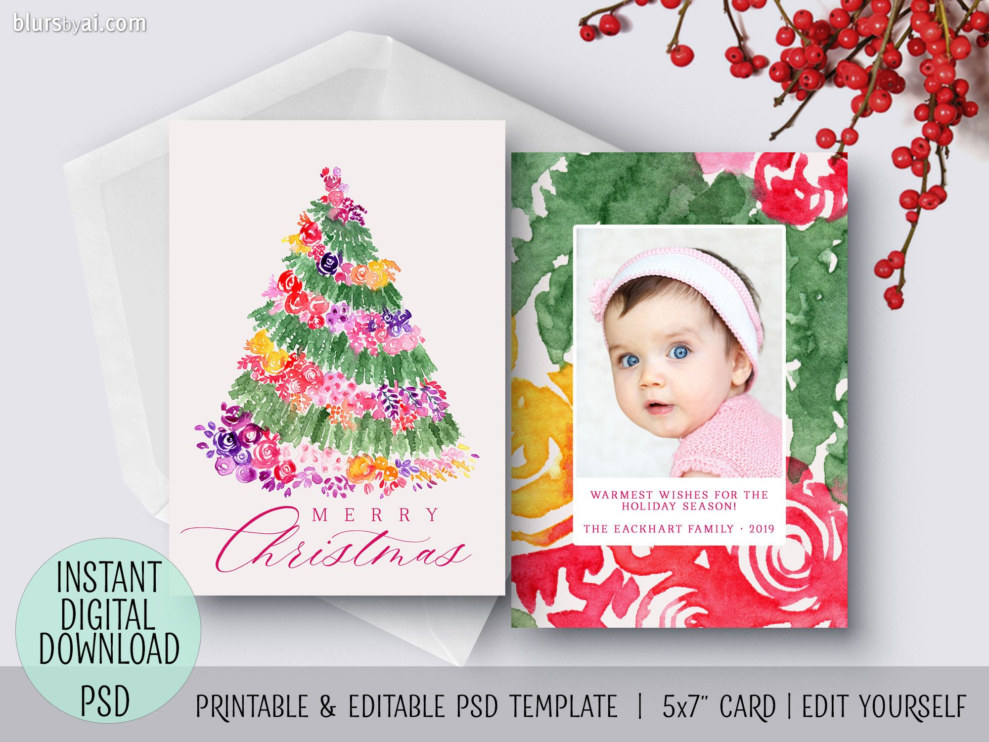 Christmas Card Template Psd Watercolor Christmas Photo Card Template Psd Template Christmas Card Template Christmas Photo Card Template Floral Christmas Tree
