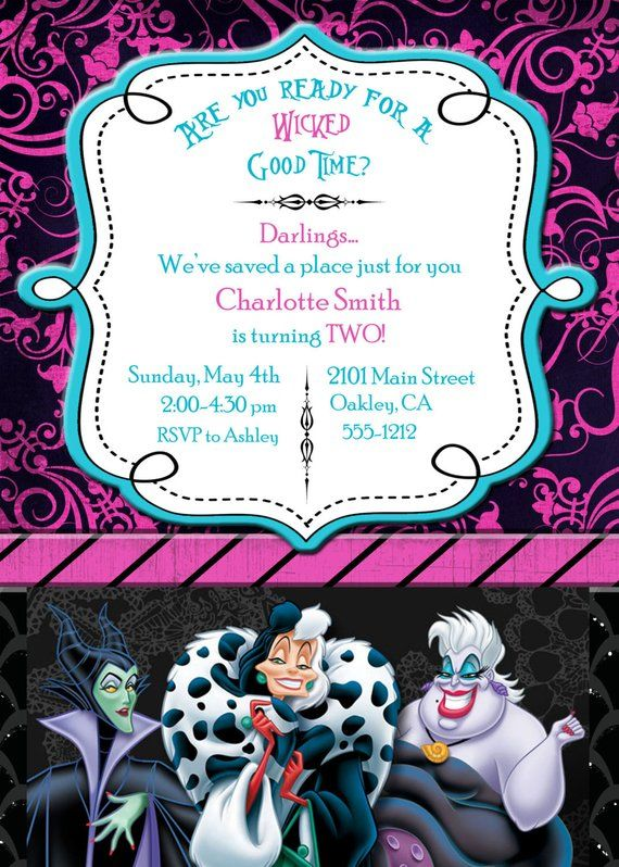 Disney Villain Inspired Halloween Birthday Invitation
