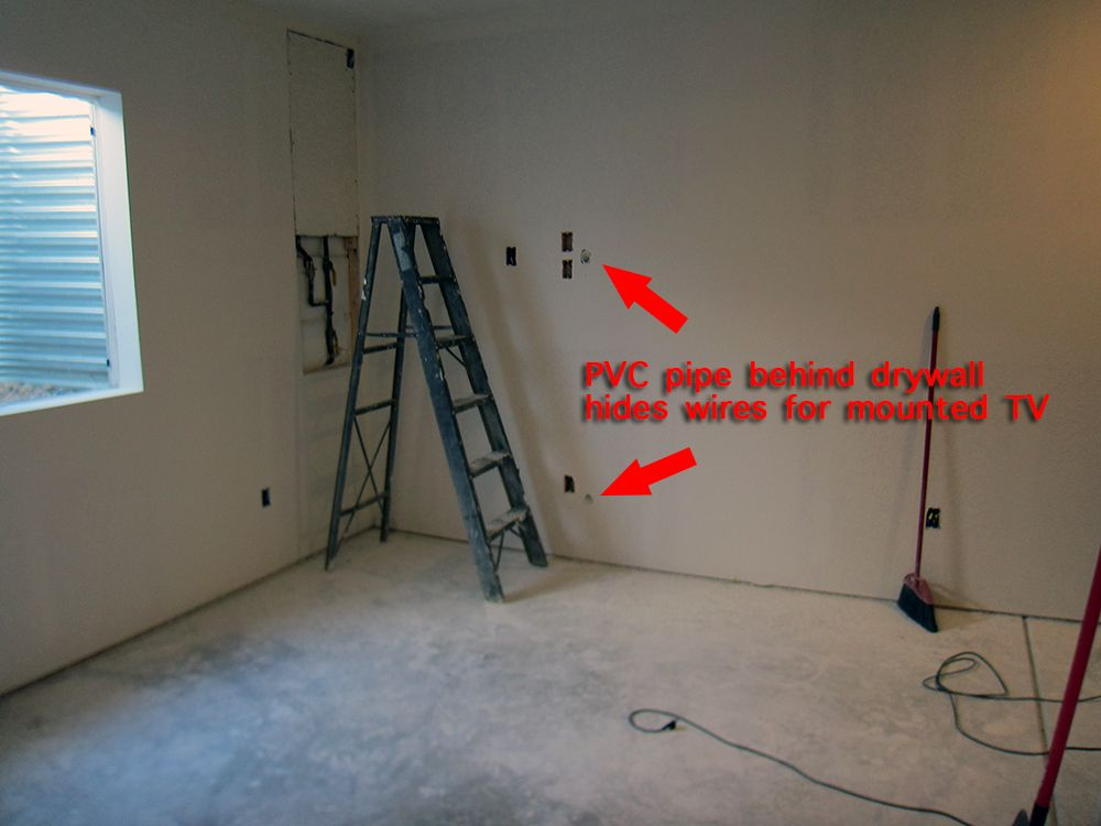 workout room another angle if you re mounting a tv learn how to rh pinterest com Basement Electrical Codes Basement Electrical Codes