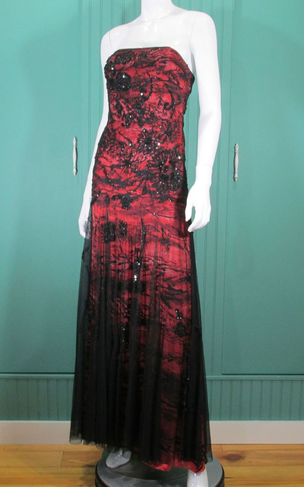 Alberto Makali Gown Formal Dress Beaded Strapless Maxi Size 4 Excellent #AlbertoMakali #BallGownSheathSexy #Formal