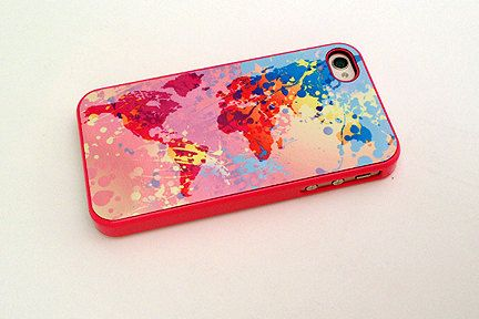 Hot pink colorful world map custom iphone and 4s case unique items similar to phone case iphone case phone cover hot pink colorful world map custom iphone and case unique iphone cases globe on etsy gumiabroncs Images