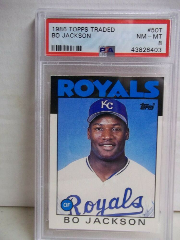 1986 topps traded bo jackson rc psa nmmt 8 baseball card