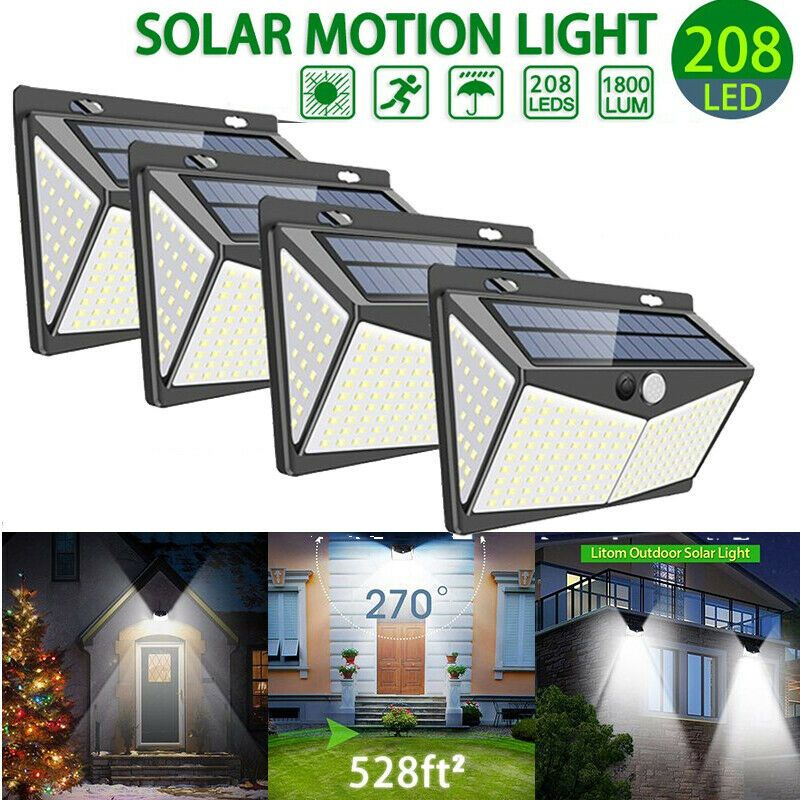 208 Led Solar Powered Pir Motion Sensor Light Outdoor Garden Security Flood Lamp Solar Lamp Solarlamp Solar Lamp Solar Motion Lights Outdoor Solar Lights