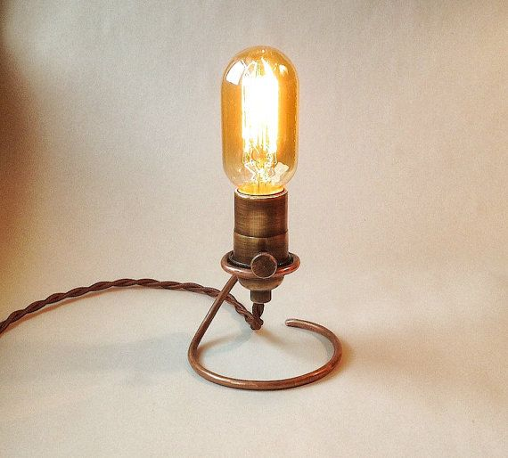 Hand Forged Edison Lamp. Base is solid copper. Makes a great table ...