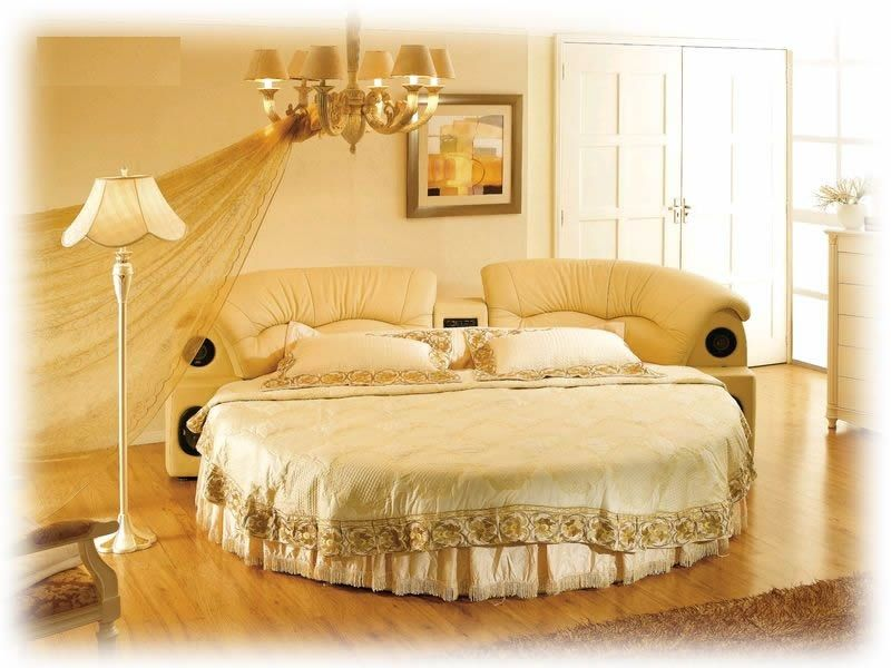(With Mattress) Rakuten Circular Bed Round Leather Bed: Roman Deal Of Imported  Furniture