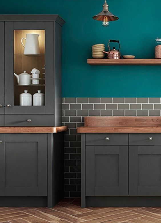Teal Kitchen Walls Copper And Grey