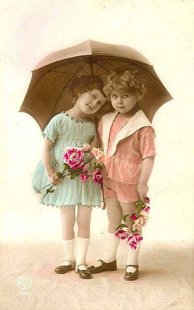 Vintage Postcard Umbrella Girls Vintage Children Vintage Children Photos Vintage Photography