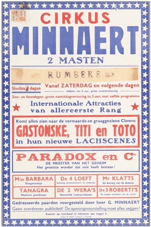 poster for 'Cirkus Minnaert', 1954 (Het Huis van Alijn)