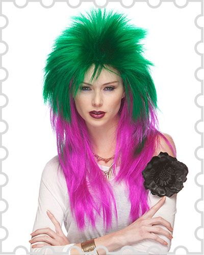 This extra long Punk Spike costume wig has a crazy, frilly look and comes in different colors. Perfect for a rock and roll or heavy metal costume or cosplay. Keep your style unique and easy.