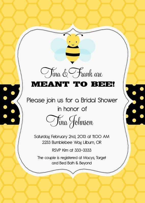 Bumblebee Meant To Bee Bridal Shower Invitations