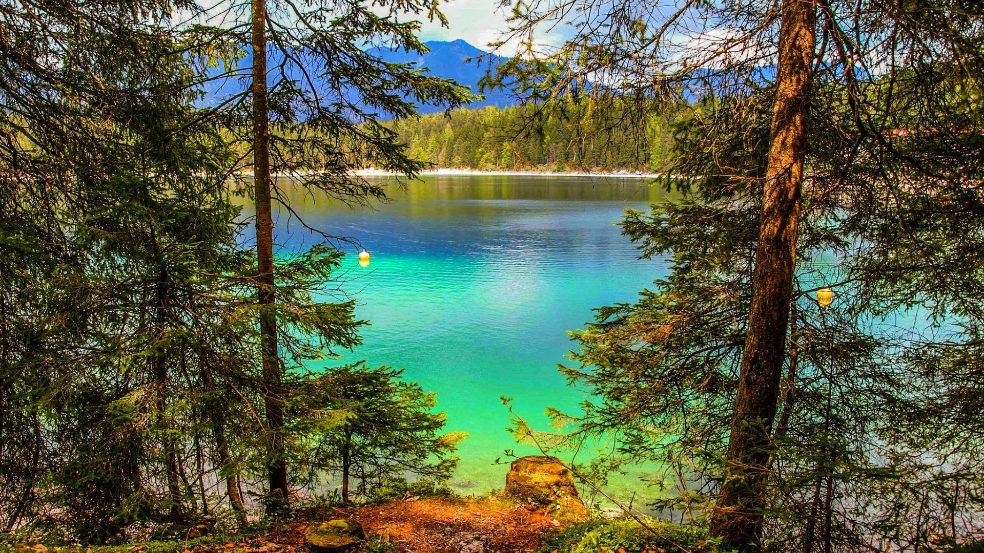 Eibsee Germany Lake Water Mountains Beautiful Turquoise Forest Summer Trees Grass Scenery Pictures Water Summer Grass Nature Desktop Wallpaper