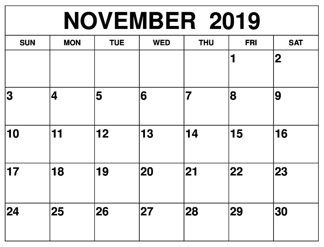 Editable November 2019 Printable Calendar Template With Notes