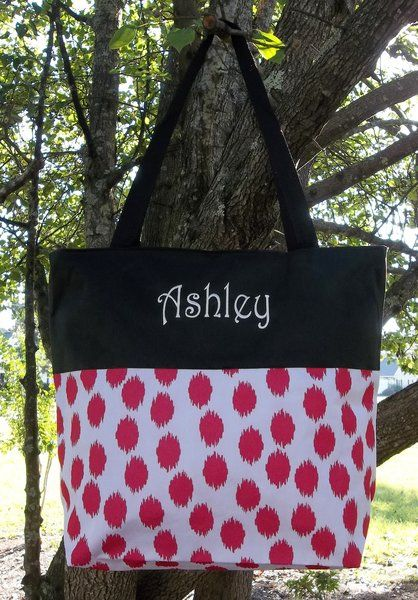 Monogrammed Red Polka Dot Tote with Black Trim | The Old Bag's Bags