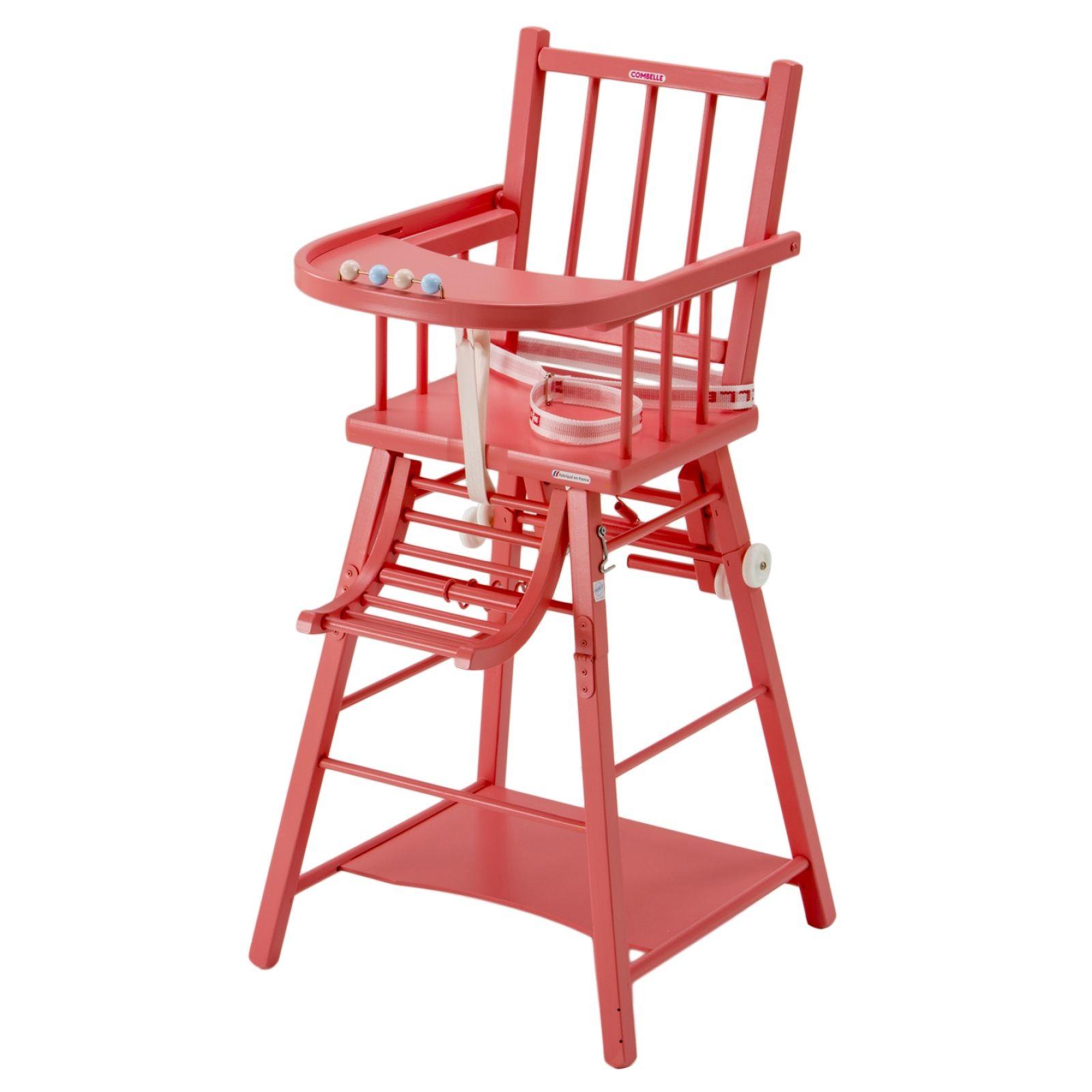 Chaise haute transformable laquée rose : Combelle - Chaise haute en ...