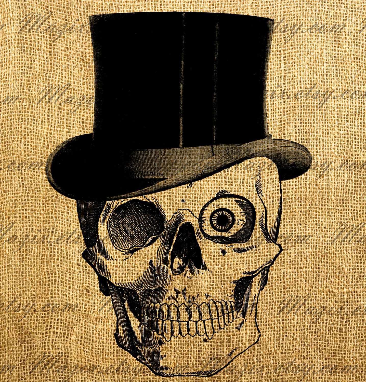 Vintage Hat Tattoos: Vintage Clip Art Skull