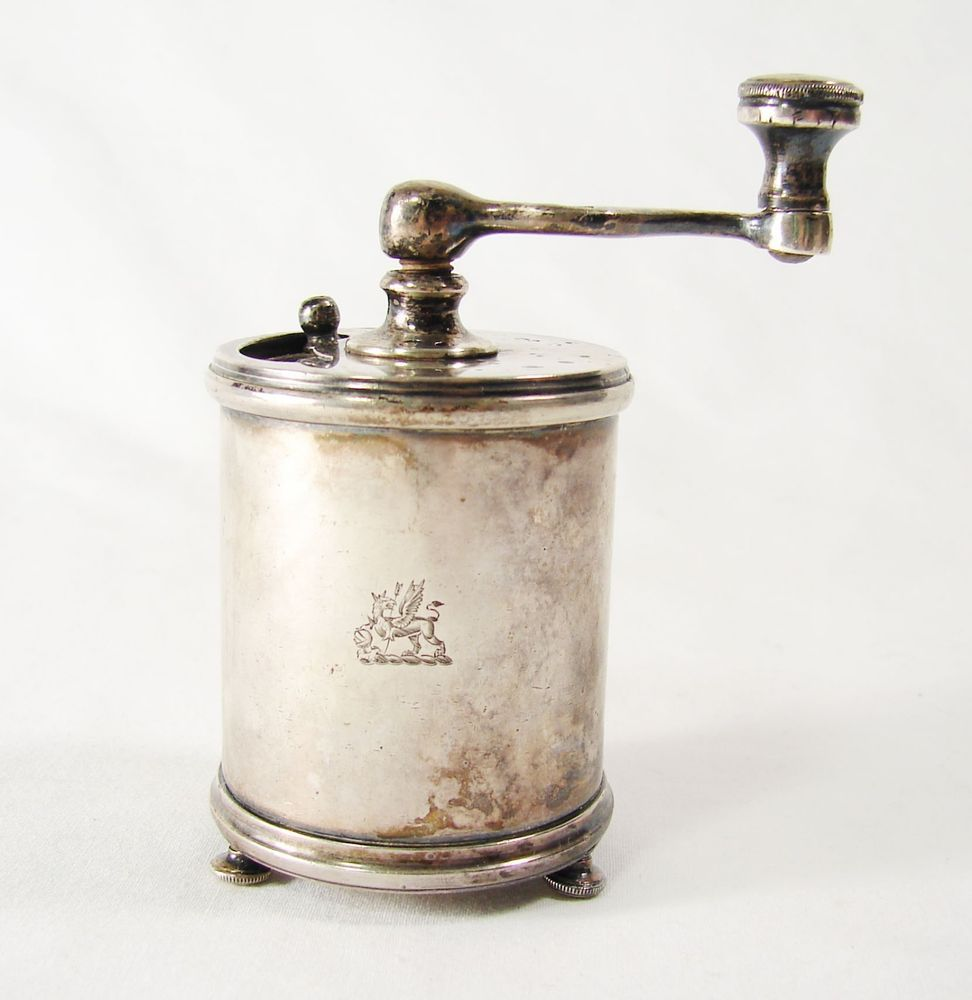 Antique 1884 Victorian Sterling Silver Pepper Mill / Grinder, Armorial London