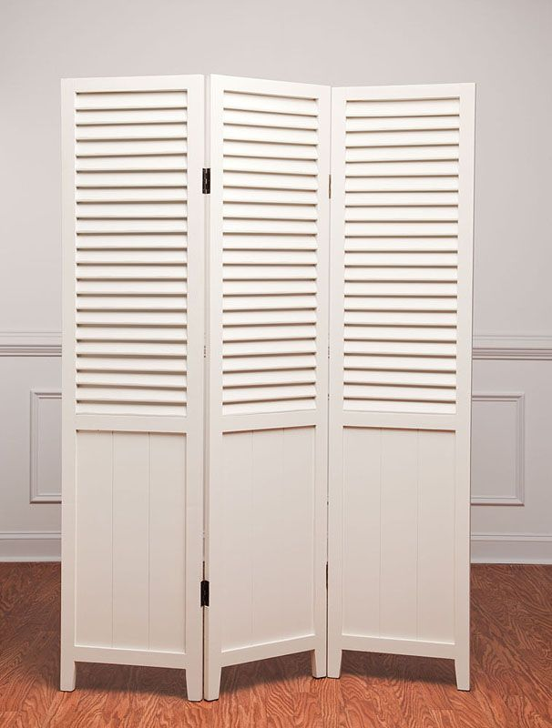 White Shutter Room Divider Shutters Wooden Floor Screen Attic Es