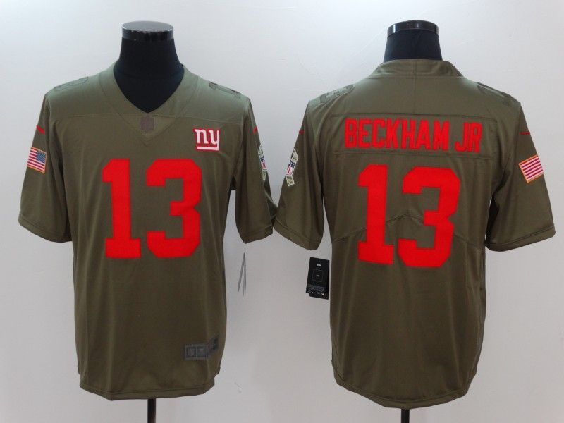 624577c66 Men New York Giants 13 Beckham jr Nike Olive Salute To Service Limited NFL  Jerseys