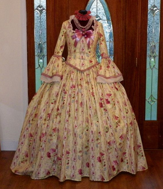 Marie Antoinette Colonial Wedding Waltz Halloween Masquerade Ball Tea Dress Gown Costume