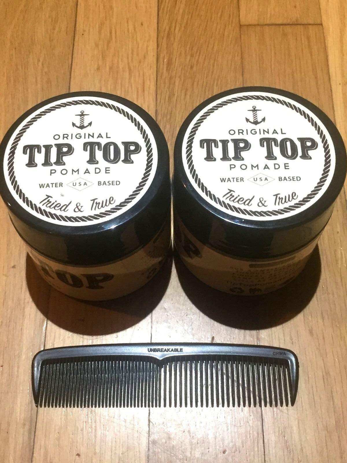 "Lot Of 2 Tip Top Suavecito Pomade Original Hold 4.25 Oz Free 5"" Comb Made In Usa"