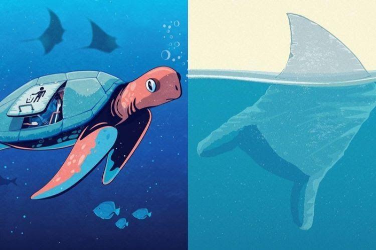 Contoh Gambar Ilustrasi Hewan Laut 8 Ilustrasi Ini Sindir Kebiasaan Buang Sampah Di Laut Bikin Miri Wow 30 Contoh Lu Ilustrasi Hewan Ilustrasi Gambar Kelinci