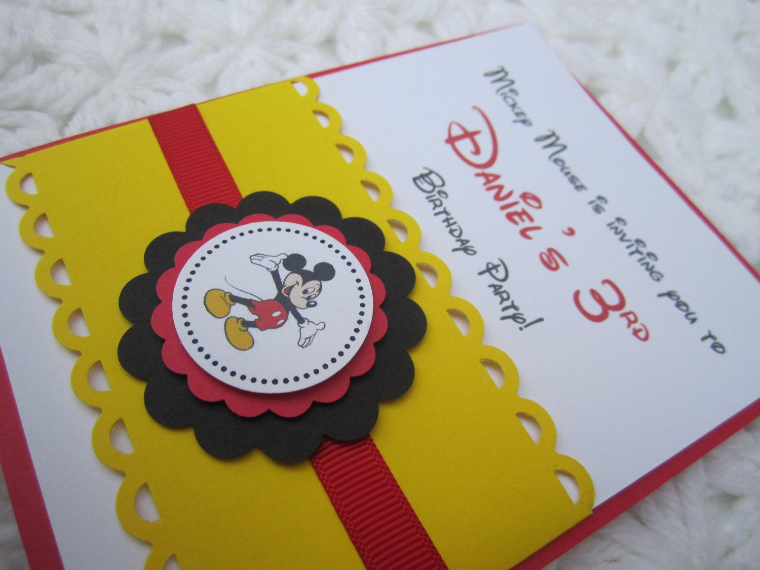 Mickey Mouse Inspired Handmade Invitation – Handmade Mickey Mouse Birthday Invitations