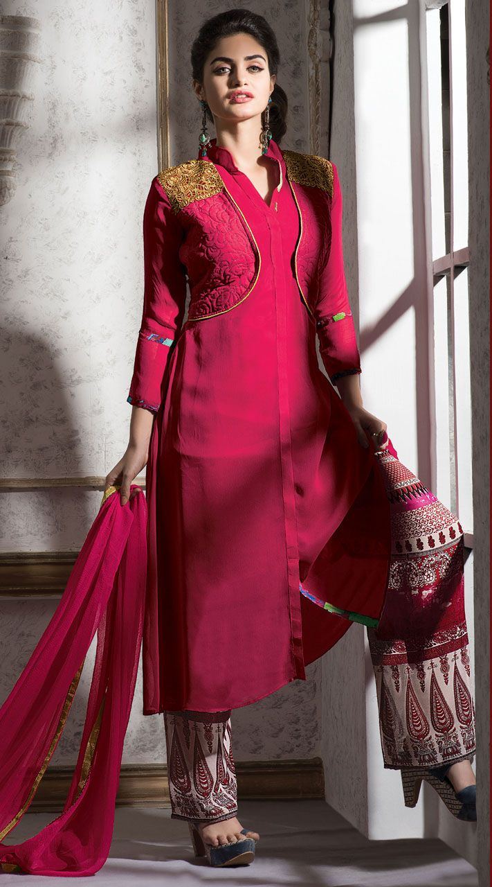e3e1c5eb6a dark-pink-georgette-short-koti-style-suit -with-printed-palazzo-pant-4h346521__23333_zoom