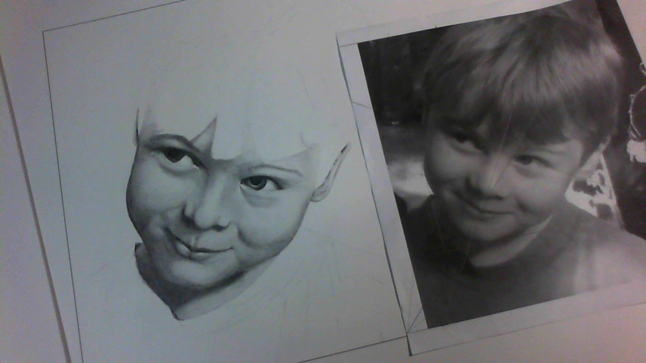 The drawing and original beside each other during shading.