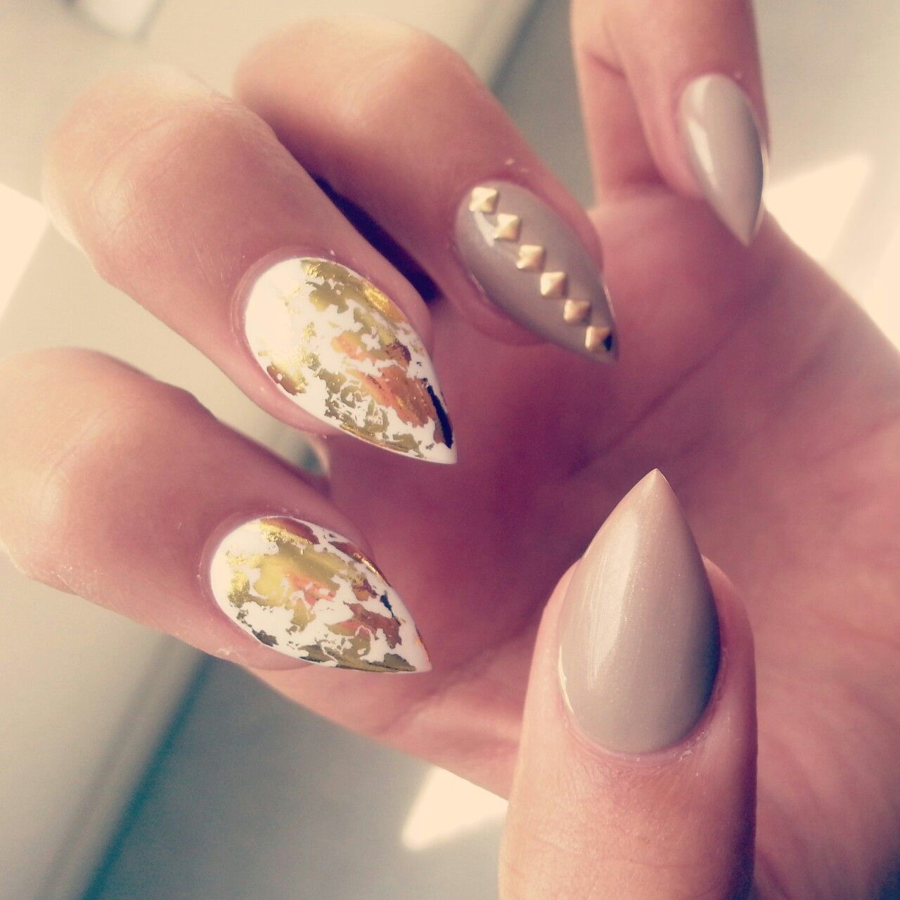 mixed patterns in blinding colors stiletto nail designs : nail art