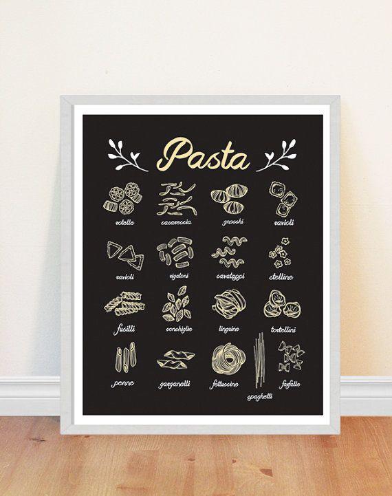 Pasta Print Kitchen Art Print Italian Food Print by bonmotprints ...