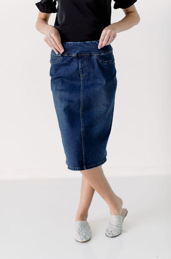 'Sara' Classic Knee Length Dark Denim Skirt 2