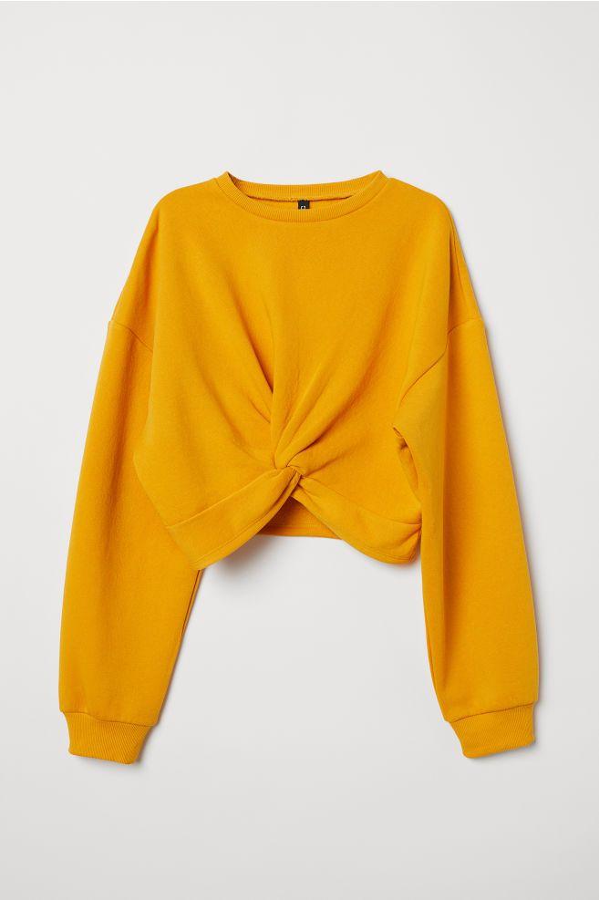 Tie-detail Sweatshirt - Mustard yellow - Ladies  453857cb9