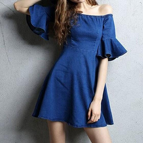 d02ba9ef9ee6 Dark Blue Plain Ruffle Draped Boat Neck Off-shoulder A-line Denim Mini Dress