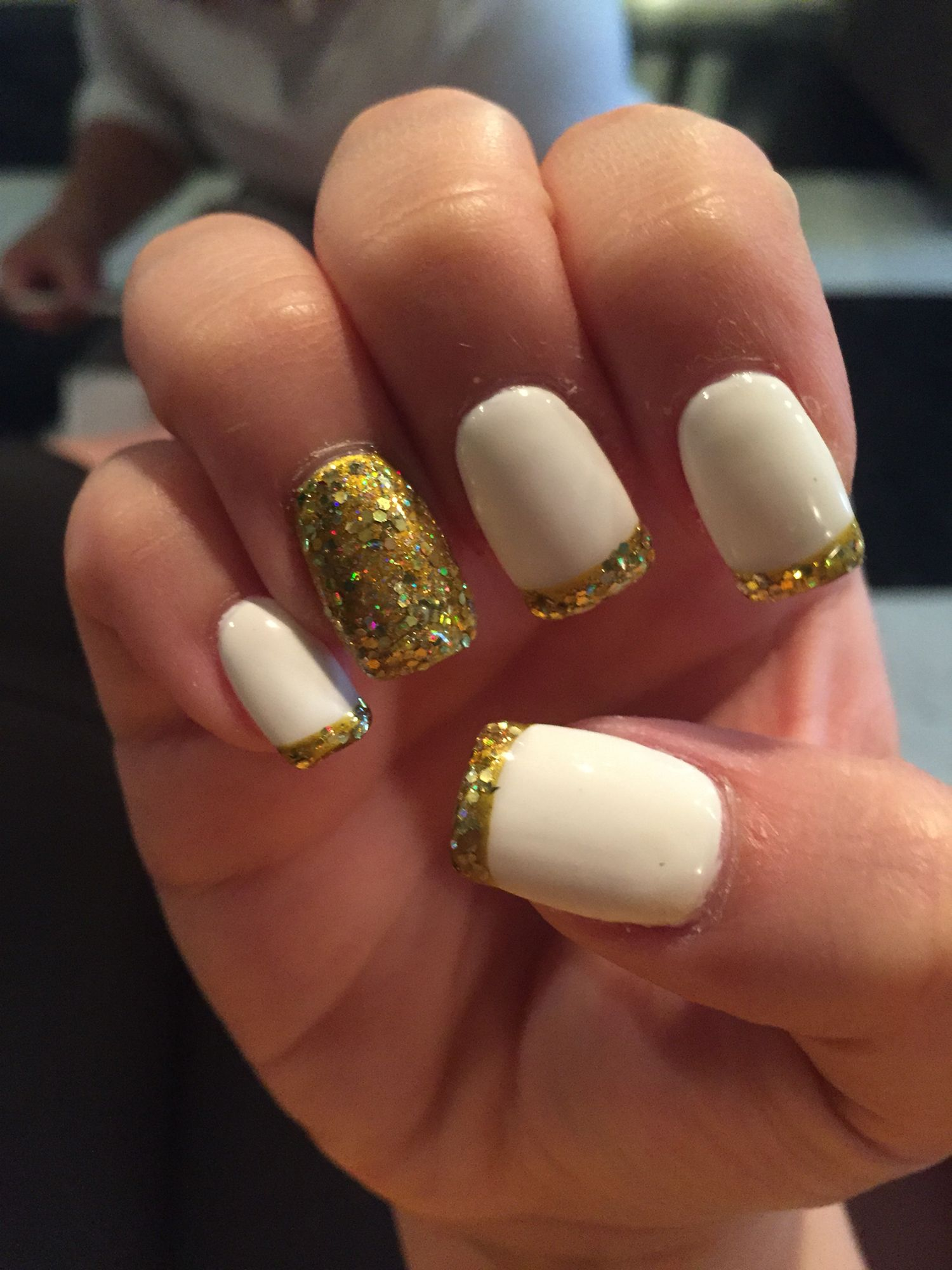 38 Golden Tips: Tapered acrylic nails with white gel polish, gold ...