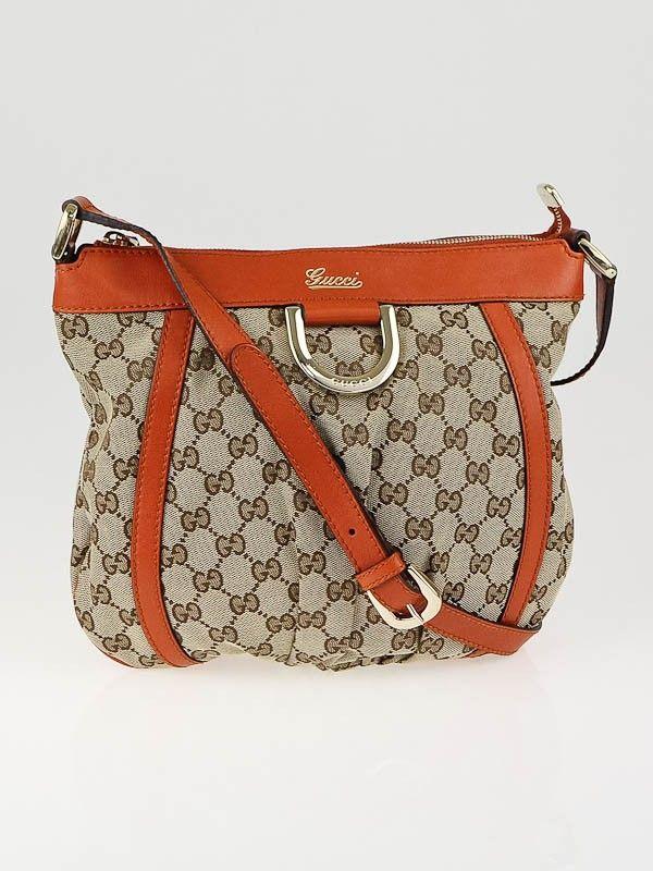 88ecc0494 Gucci Beige/Ebony GG Canvas D Gold Ring Small Messenger Bag   Gucci ...