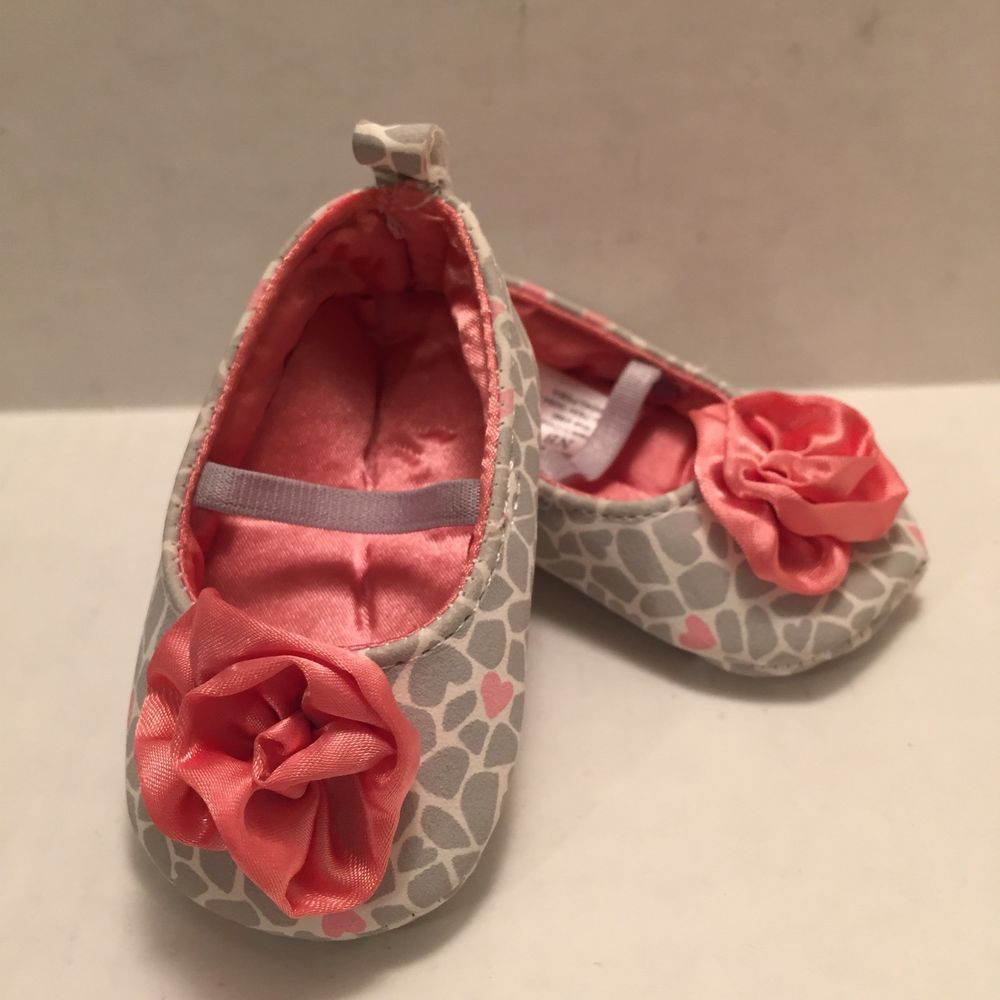 af23ffc90723c Carter s Newborn Mary Jane Shoes Rose Hearts Baby Girl Pink Gray Child of  Mine  Carters  CribShoes