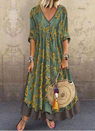 Floral VNeckline Half Sleeve Maxi Aline Dress  Green  XXL