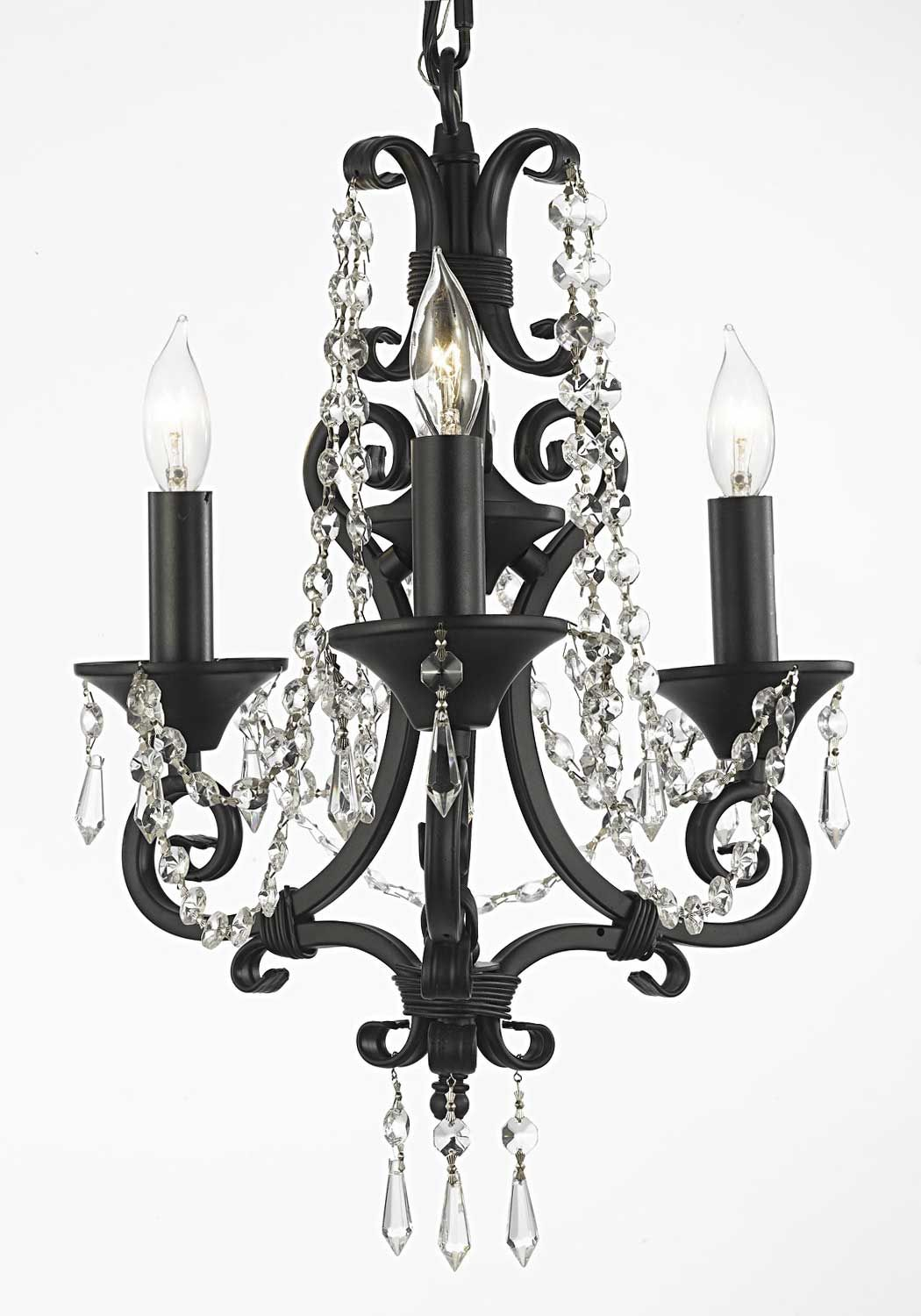 This Beautiful Chandelier Is Trimmed With Empress Crystal Tm Black Wrought Iron Chandeliers Lighting Pink Hearts