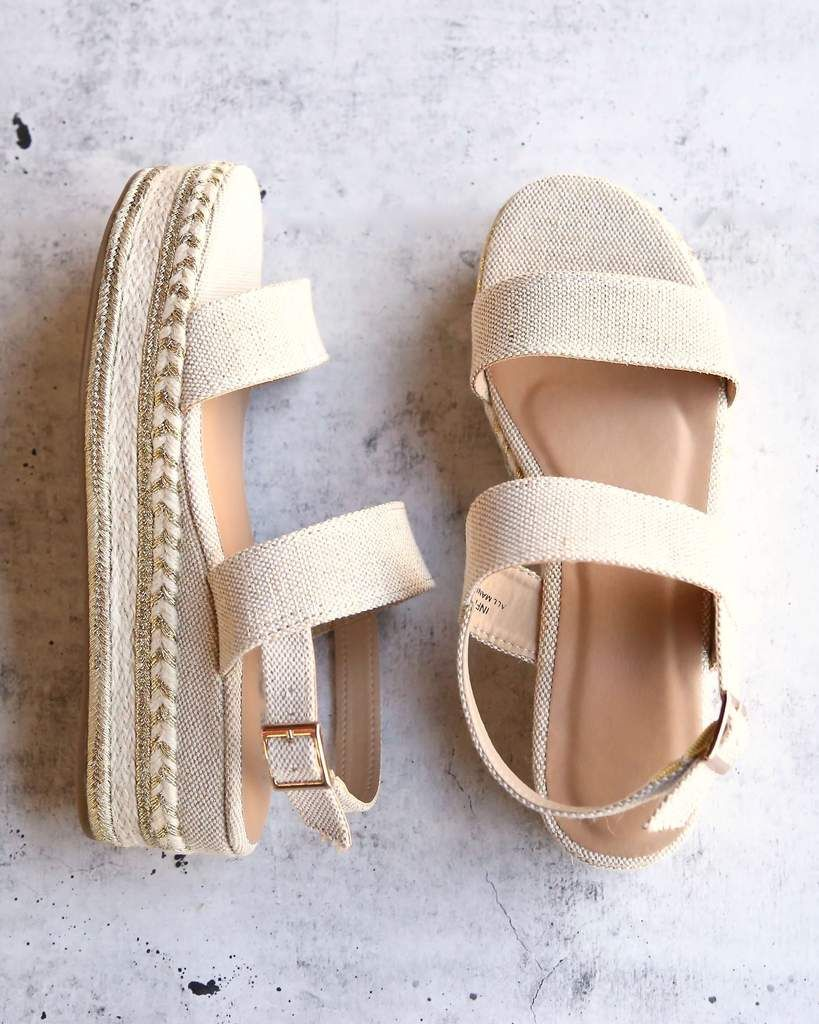 Natural Single Band Espadrilles Platform Sandal with Ankle Strap is part of Shoes - Need cute platforms that are casual enough just to wear out on a daily basis  These trendy flatform wedges are perfect for you, featuring a doubleband silhouette, open toe, and adjustable slingback strap with buckle fastening  It is finished with a striped flatform wedge heel and is lightly padded insole for comfort  100% quality manmade material   Heel height 2 5 inches   Light weight platform 1 5 inches   Fits true to size   Please note that the fit and color may vary slightly according to personal preferences and monitor settings