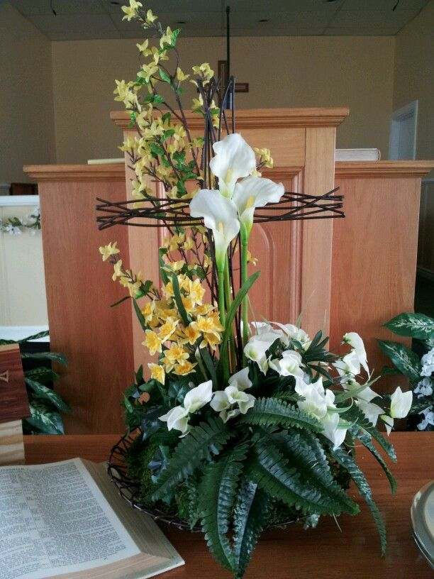 Flowers For Church At Easter Easter Floral Arrangement Easter Flower Arrangements Church Flower Arrangements