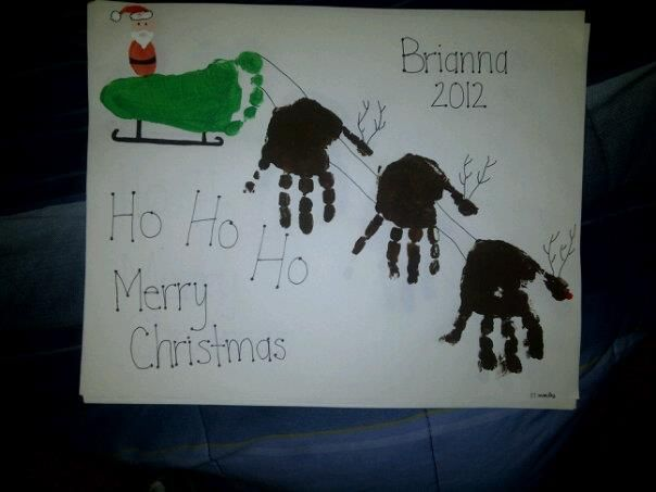 Handprint Reindeer Footprint Santa Sleigh Use The Thumb