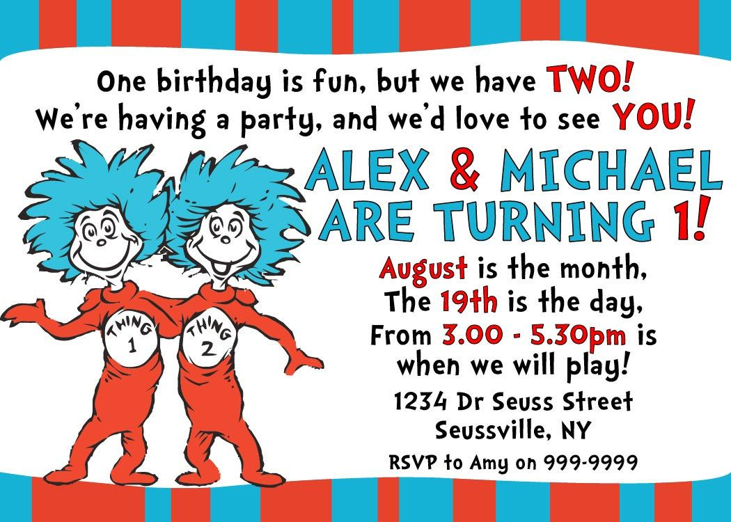 Dr Seuss Thing 1 and Thing 2 Invitation - Printable - 5 x 7 Twins ...