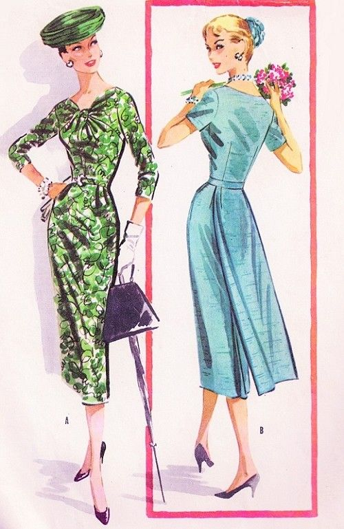 1950s Dazzling Day or Evening Cocktail Dress Pattern McCalls 3831 Striking Twisted Neckline Slim Sheath Detachable Flowing Back Panel Bust 38 Vintage Sewing Pattern