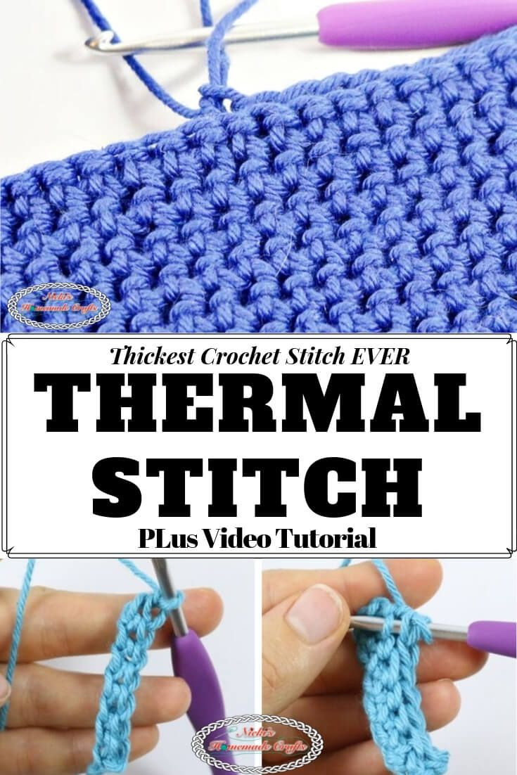 Thermal Stitch aka Double Thick Crochet Stitch - Photo and Video Tutorial #crochetstitches