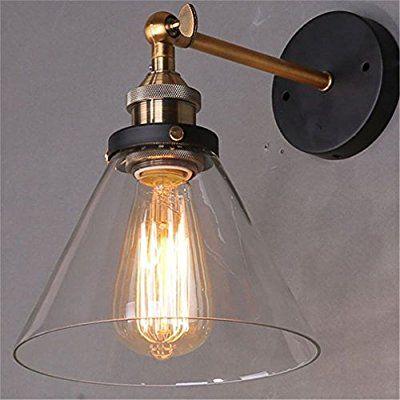 Lightess applique industrielle murale vintage edison luminaire interieur abat jour en verre style campagne e27