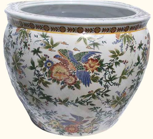 Chinese Porcelain Fish Bowl Planter With Painted Parrot