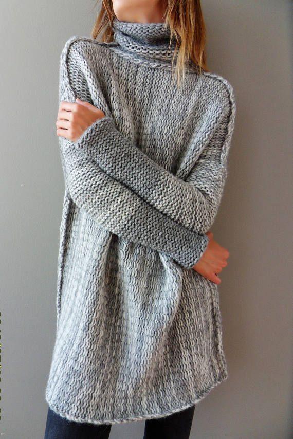 9b58eafe0efe Oversized Alpaca Chunky knit sweater. Oversized Loose knit sweater. Thumb  holes sweater. Turtleneck
