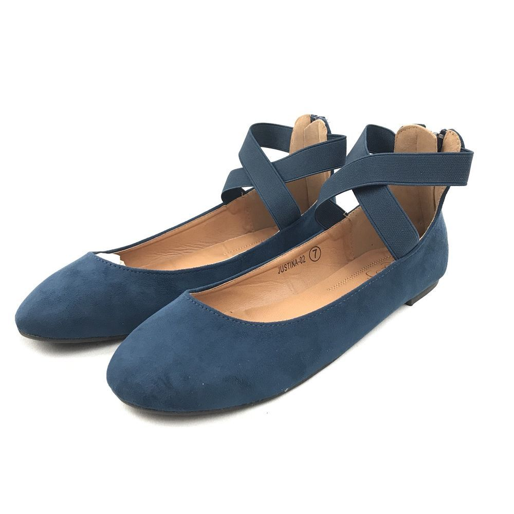 1a20759e7 New Womens Mary Jane Faux Suede Ballet Flats Criss Cross Ankle Strap Navy  Blue #Refresh #BalletFlats #Casual