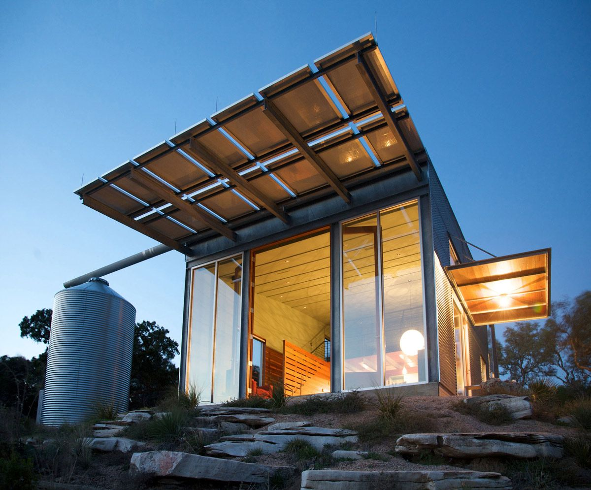 rain water storage tank simple eco friendly home perched above